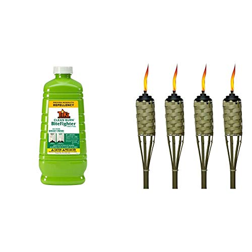 TIKI Brand Clean Burn BiteFighter Mosquito Repellent Torch Fuel, 64 Ounces & Brand 57-Inch Luau Bamboo Torches - 4 Pack