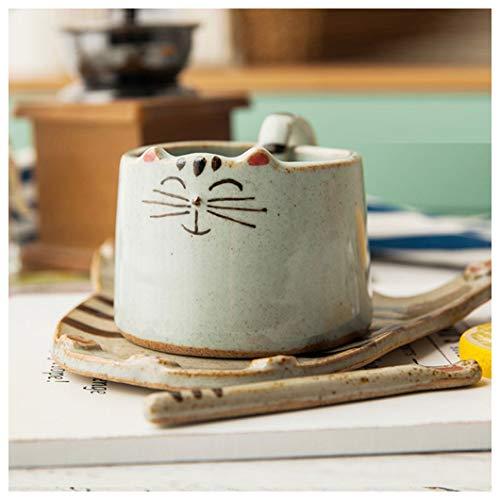 Tazze Tazza da caffè Tazza d'Acqua Colorata a Mano in Ceramica Tazza in Ceramica in Ceramica Tazza di caffè con Cucchiaio piattino retrò Tazza di spuntino e piattino per Bambini Tazza di caffè