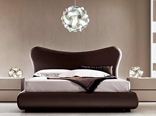 Stupendo Set Lampadario moderno con coppia lampade comodini per Camera da letto Sfera bianca diametro 35 cm e abatjour di design Illuminazione moderna stanza da letto