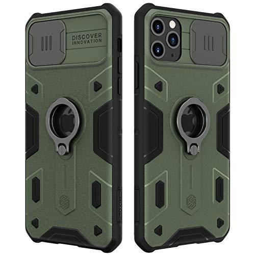Funda iPhone 11 Pro Max, Nillkin Funda con tapa deslizable para cámara, PC y TPU Funda protectora parachoques resistente a impactos con soporte de anillo para iPhone 11 Pro Max 6.5 pulgadas 2019-Verde