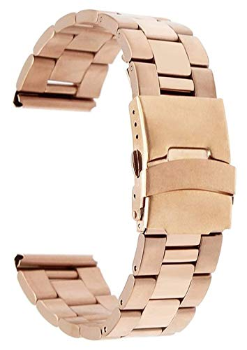 WUTONG 18mm 20mm 22mm Stainless Steel Watchband Curved End Strap Butterfly Buckle Belt Wrist Bracelet Black Rose Gold Silver + Tool Watch Strap watch straps (Color : 22mm, Size : Gold)
