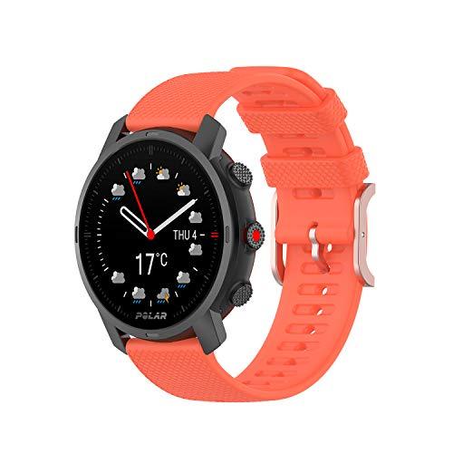 Yikamosi Compatible con Polar Grit X Watch Correa,22mm liberación rápida Silicona Suave Oro Rosa Cierre de Acero Inoxidable Correas de Repuesto para Polar Grit X/Vantage M/M2,Naranja