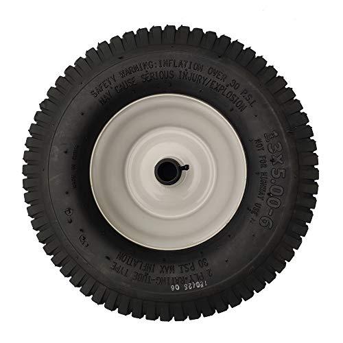 DOUBLE BRIDGE 2 Pack 13x5.00-6 Pneumatic Wheel Rubber Wheel,Wheelbarrow tire Turf Tread,Plastic Grease Fitting,2.275