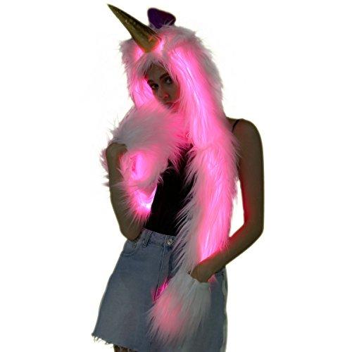Unicorn LED Light Up Hat Hoodie Furry Hood Scarf Faux Fur Women Glow Burning Man Costume Outfit