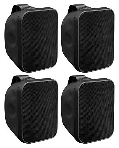 4X Pronomic OLS-5 BK DJ PA Outdoor-Lautsprecher für Garten, Terrasse, Restaurant (4X 80 Watt, Schutzart IP56, 8 Ohm, 5,25