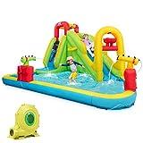 HONEY JOY Inflatable Water Slide, Kids Bounce House w/Slides, Climbing Wall & Splash Pool,...