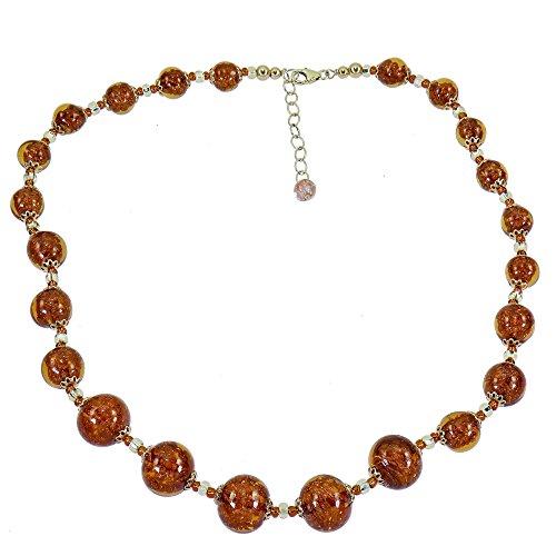 Aleksander Sternen Murano Star Muranoglas Damen-Halskette Polvere di Stelle Aventurinquarz braun Silber 925 vergoldet