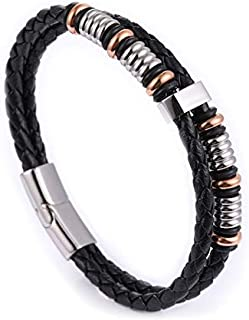 Genuine Leather and Stainless Steel 316L Bracelet for Men…