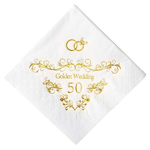 Crisky 50th Anniversaray Napkins, Gold Foil Text, 50th Anniversary Party Decorations 100 Pcs, 3-ply