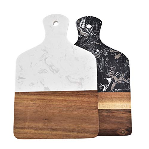 LIYANG Tabla De Cortar Mármol Artificial Cuadrado De Madera Sólida del Corte Queso Junta Junta con La Manija para Carne Pan Frutas (Color : White, Size : 21.7x32.2cm)
