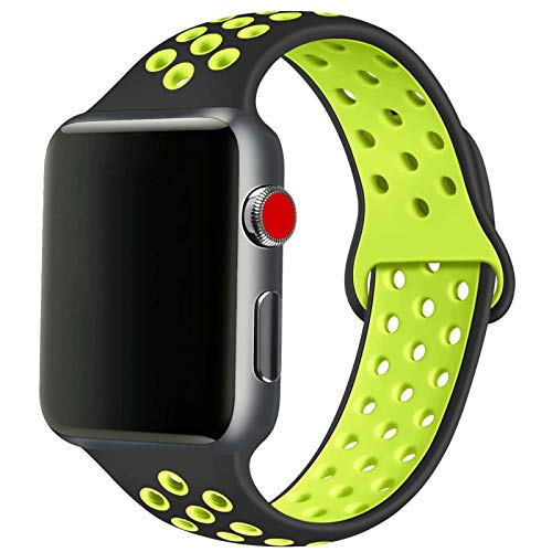 SSEIHI Compatibile con Cinturino Apple Watch 42mm 44mm,Cinturino di Ricambio Sportivo in Silicone Morbido per Cinturino per iWatch Serie 6/5/4/3/2/1,SE,Sport,Traspirante, S/M,Black Volt