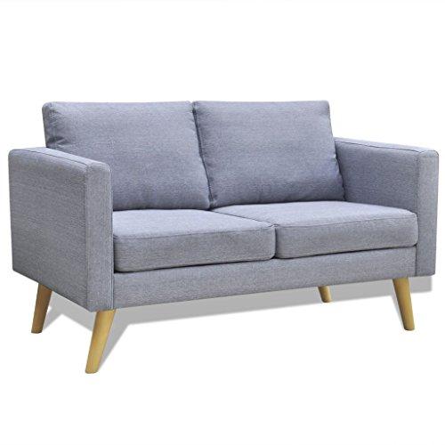 Festnight Sofa Couchgarnitur Couch Sofagarnitur Loungesofa Polstergarnitur 2-Sitzer Hellgrau