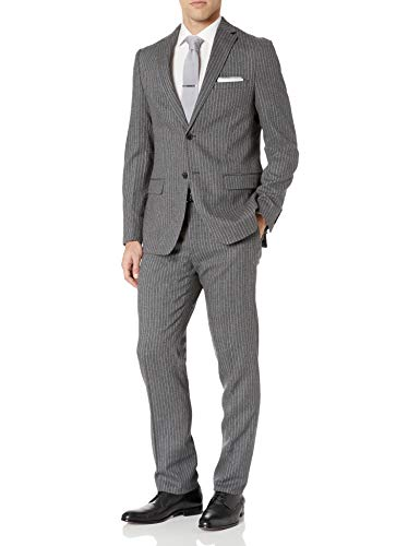 DKNY Men's Slim Fit Wool Suit, Grey Stripe, 38 Long