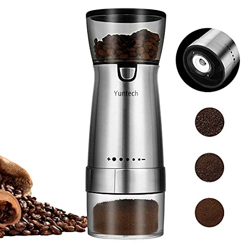 Coffee Grinder Electric USB Charging Battery Cordless Burr Coffee Machine Mill Stainless Steel Shell One Button Start 5 Speed Adjustment Coarse & Fine for Coffee Beans, Pepper and Other Particles