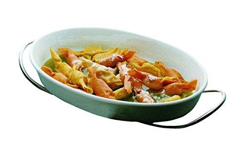 Mepra Set for Pasta with Oval China Bowl - Silver Finish, Dishwasher Safe Serveware