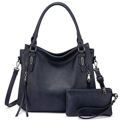 Realer Bolso de mano para mujer, grande, de piel, bolso bandolera, monedero, Hobo, 2 unidades, color azul