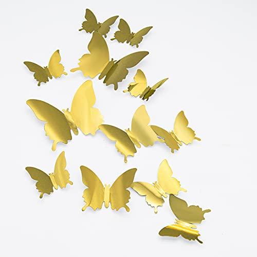 Mariposas Espejos 3D, CAYUDEN 24pcs Extraíbles 3 Tamaños Mariposa Espejos Decorativos de...