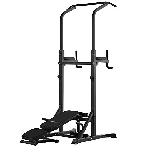 Soozier Exercise Pullup Weight Machine Ideal for Home Gym Adjustable Positions Power Tower for Strengthening Many Muscles