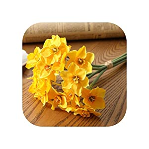 Joyfeel-light 6pcs/Lot Home Room Artificial Simulation Narcissus Flower Living Room Window Decor Fake Flowers Wedding Scene Decor Daffodil-Yellow-