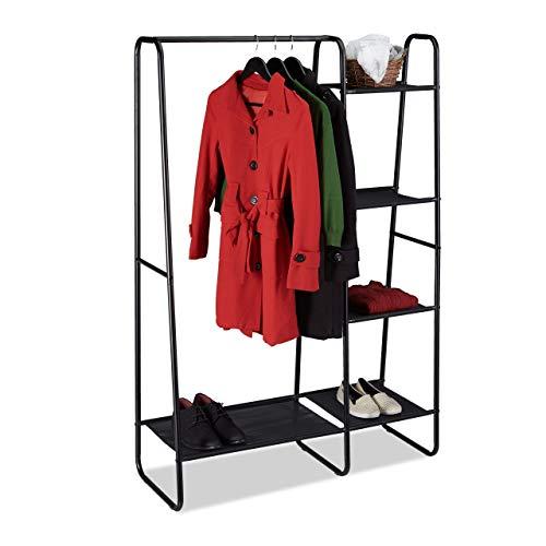 Relaxdays Perchero Burro 5 Estantes, Recibidor, Dormitorio, Armario Abierto, Metal-Plástico, 1 Ud, 150x100x40 cm, Negro