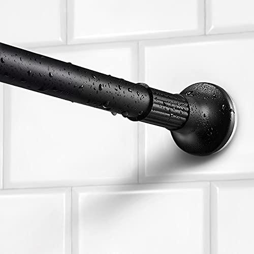 Dmore Asta per doccia senza foratura, colore nero, 110-200 cm, estensibile, asta telescopica in acciaio inox per doccia e vasca da bagno.