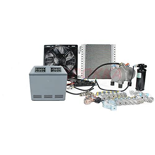 Compresor de aire acondicionado eléctrico automático universal 12 V 24 V para camión de servicio pesado, autobús, furgoneta, autocaravana, estacionamiento, aire acondicionado (24V)