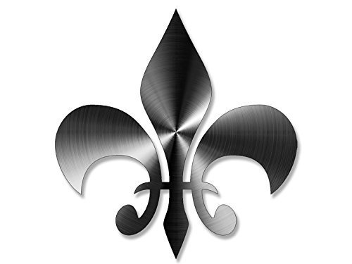 GHaynes Distributing Stainless Steel Look: Fleur De Lis Shaped Sticker Decal (Non-Reflective Vinyl New Orleans) Size: 4 x 4 inch