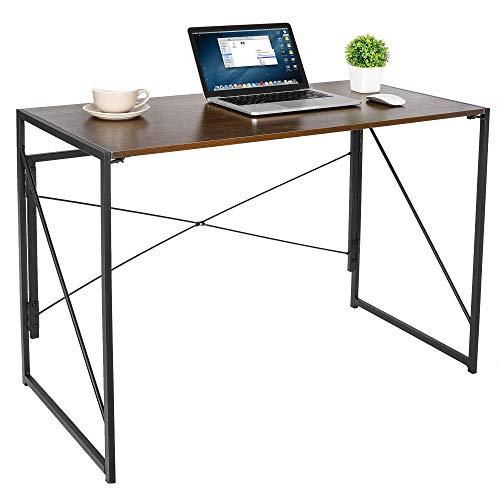 SUPER DEAL Folding Computer Writing Desk Wood and Metal Study Desk, PC Laptop Home Office Study Table, Espresso