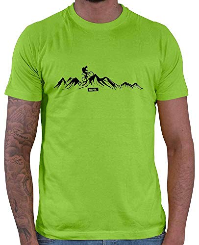 HARIZ Herren T-Shirt Mountainbike Fahrrad Berge Mountain Plus Geschenkkarten Hell Grün L