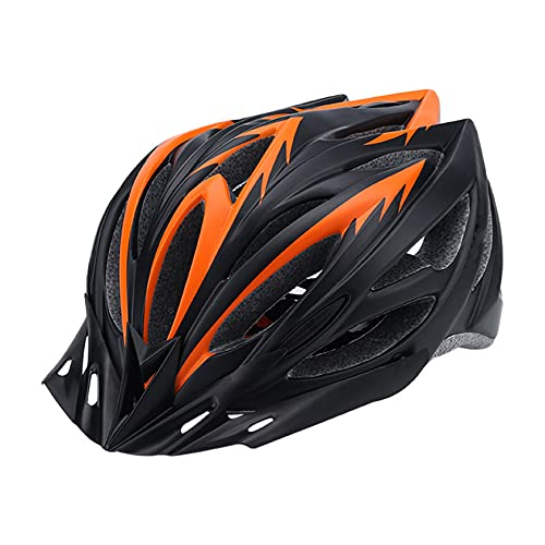Casco da Bici Casco da Bicicletta con Circonferenza della Testa Regolabile Caschi da Ciclismo Allround Casco da Ciclismo su Strada da Città Attrezzatura da Ciclismo(Color:Arancio e Nero)