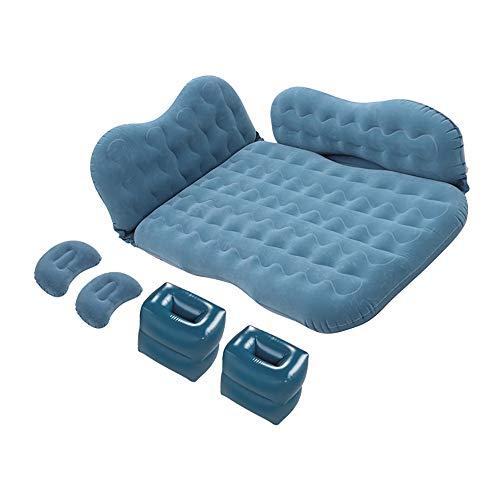 HEWXWX Aufblasbares Auto-Bett, Tragbares Auto-Luftbett Aufblasbare Auto-Auspuff-Matratze Mit Luftpumpe Und Aufbewahrungstasche FüR Camping-Wanderungen Im Freien,Blue