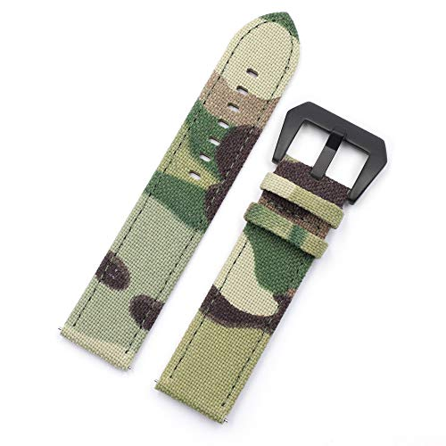 20mm 22mm Camo Canvas Quick Release Watch Band Strap, Cordura Canvas Ballistic Nylon Military Style Watch Strap with Camouflage Pattern for Men (22mm, Army Green camo with Black Buckle)