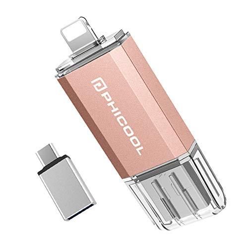 USB Stick 128GB USB 3.0 Externer Speicher,PHICOOL Speichererweiterung für iPhone iPad,OTG Android und USB C Android Samsung/Huawei/XIAO MI/ONEPLUS,PC MAC Computer Laptop - PINK
