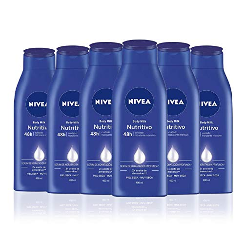 NIVEA Body Milk Nutritivo en pack de 6 (6 x 400 ml), leche corporal para una hidratación profunda durante 48 h, crema hidratante corporal con aceite de almendras