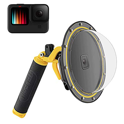 TELESIN - Dome per GoPro Hero 9, colore: nero, protezione impermeabile e trasparente per immersioni, con pistol trigger, impugnatura galleggiante per GoPro Hero 9, accessori per action camera
