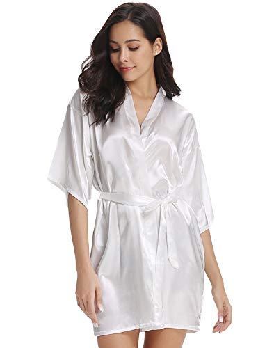 Vlazom Kimono Mujer Satén Suave y Ligero, Albornoces para Muje de Dormir/Batas Mujer de Pijamas S-XXL