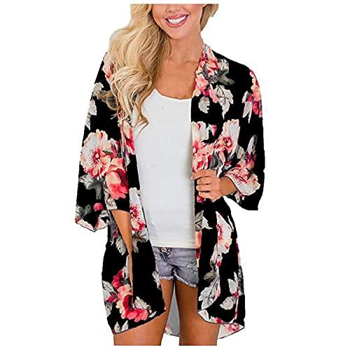 Lenfeshing Cárdigans Tipo Kimono con Estampado Floral de Mujer Ropa de Playa Suelta del Mantón Traje de Baño Blusa Casual Boho