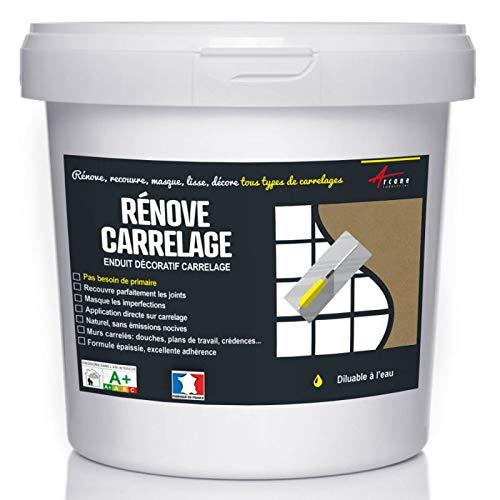 Putz für Fliesen - Fliesen verputzen - Betonbeschichtungs-Effekt - RENOVE CARRELAGE - Kastanie - Kit 10kg - 6.5m² für 2 Schichten