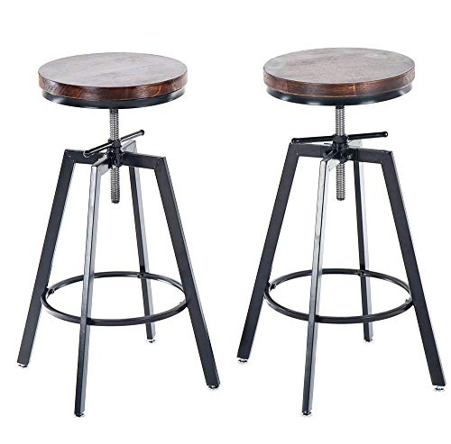 JOELGIUM Adjustable Height Swivel Bar Stools - Counter Height - Set of 2 – Solid Wood Seat – Metal Base – for Kitchen,Bistro,Coffee,Pub
