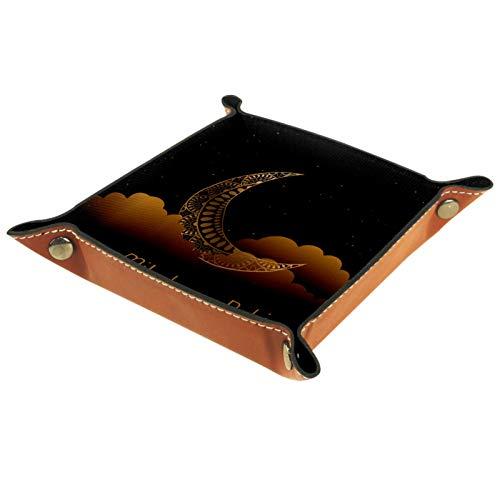 KAMEARI Bandeja de piel con diseño de luna, color negro, para monedas, de piel de vacuno, práctica caja de almacenamiento para carteras, relojes, llaves, monedas