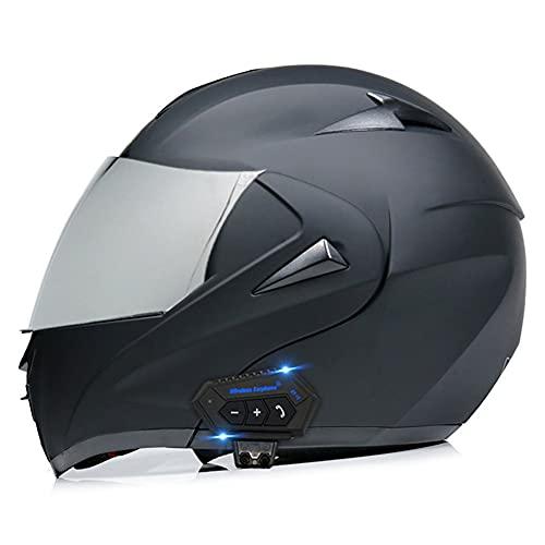 Flip Casco de Motocicleta de Cara Completa con Bluetooth Casco de Motocicleta con Bluetooth Integrado Radio Walkie Talkie Casco de Motocicleta con Doble Espejo Antivaho (52~60CM)
