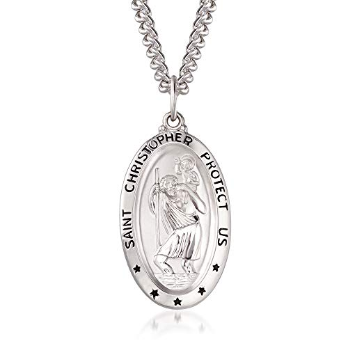 Ross-Simons Men's Sterling Silver Saint Christopher Oval Medal With Stainless Steel Chain. 24 inches