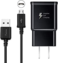 Adaptive Fast Charging Wall Charger with 5-Feet/1.5 Meter Micro USB Cable Kit Set Compatible with Samsung Galaxy S7 / S7 Edge / S6 / S6 Edge / A6 / J7 / J3 / Note 5 [Black]