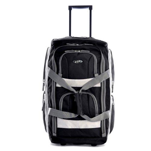 Olympia 8 Pocket Rolling Duffel Bag, Black