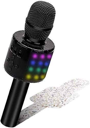BONAOK Micrófono Karaoke Bluetooth, Micrófono Inalámbrico Karaoke con Luces LED, Micrófono de Grabación Niños cantando, Máquina Micrófonopara el Hogar KTV Player, Compatible con Android e iOS (Negro)