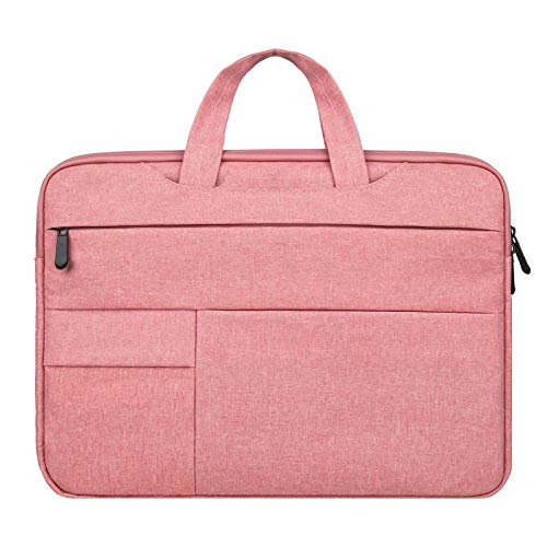 RAINYEAR Laptop Sleeve Carrying Case Compatible with 15.6 Inch Notebook Computer Chromebook,Briefcase Handbag with Hidden Handle Multiple Pocket Protective Padded Polyester Waterproof Bag,Pink