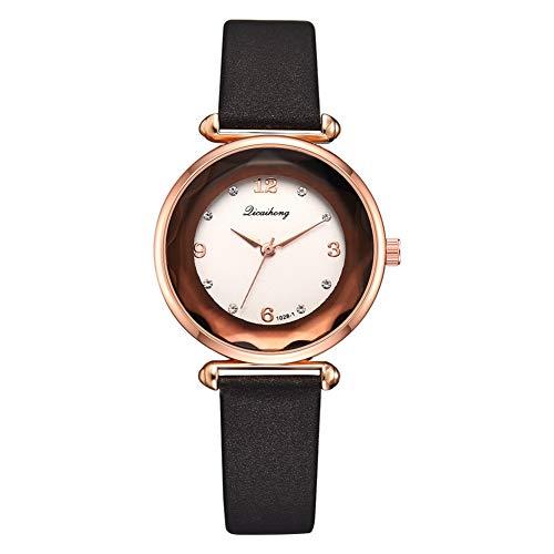 TYYW Reloj De Cuarzo con Banda De Cuero De PU, Marco De Oro Rosa con Reloj De Pulsera Femenino De Diamantes De Imitación (Negro)