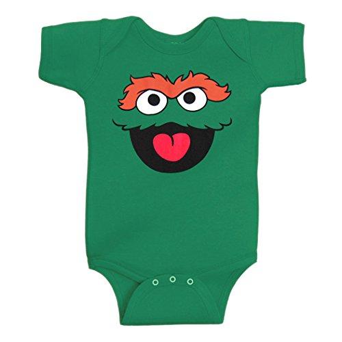 Sesame Street Oscar The Grouch Face Infant Onesie Romper-18 Months Green