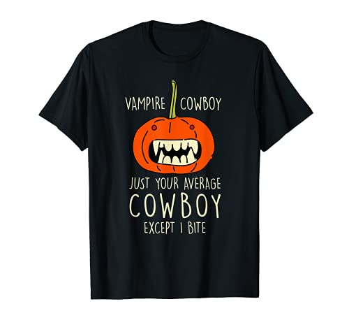 Vampiro Vaquero Halloween Vaquero Calabaza Pastor Miedo Camiseta