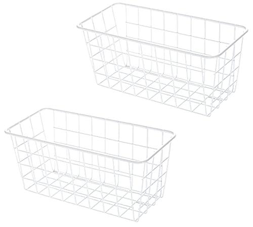 EACHPT Canasta de Almacenamiento de Hierro Forjado, Cesta De Almacenamiento De Metal De 2 Piezas, Utilizada Para Organizar Cosméticos, Cocina, Baño, Inodoro, Cesta Colgante De Malla Metálica